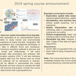 Image for the Tweet beginning: New Spring 2019 Course: GEOG