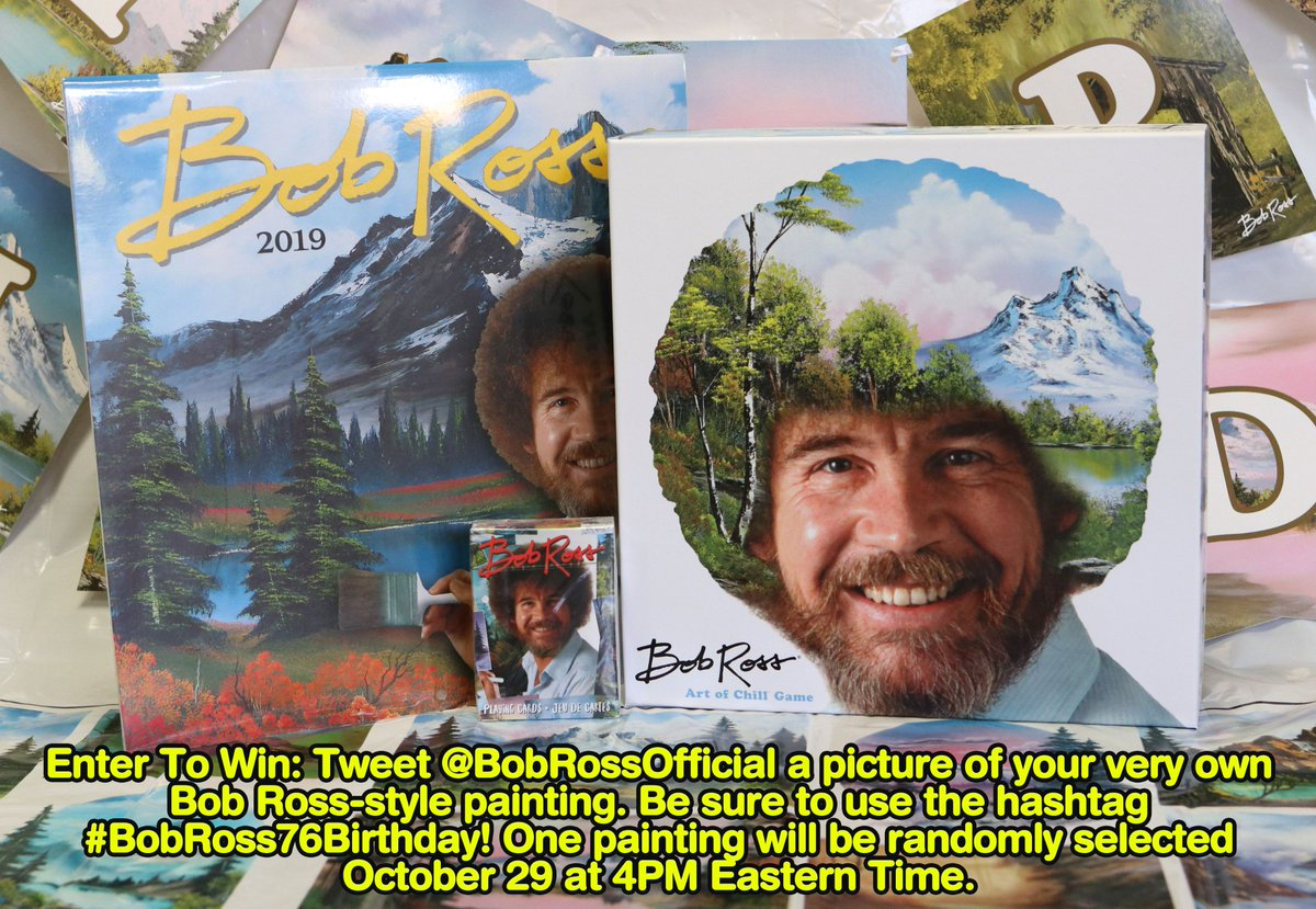 Bob Ross Official On Twitter Happy 76 Birthday Bob To Celebrate Bob S Birthday Tweet Us One Of Your Very Own Bob Ross Style Paintings Be Sure To Use The Hashtag Bobross76birthday To Be