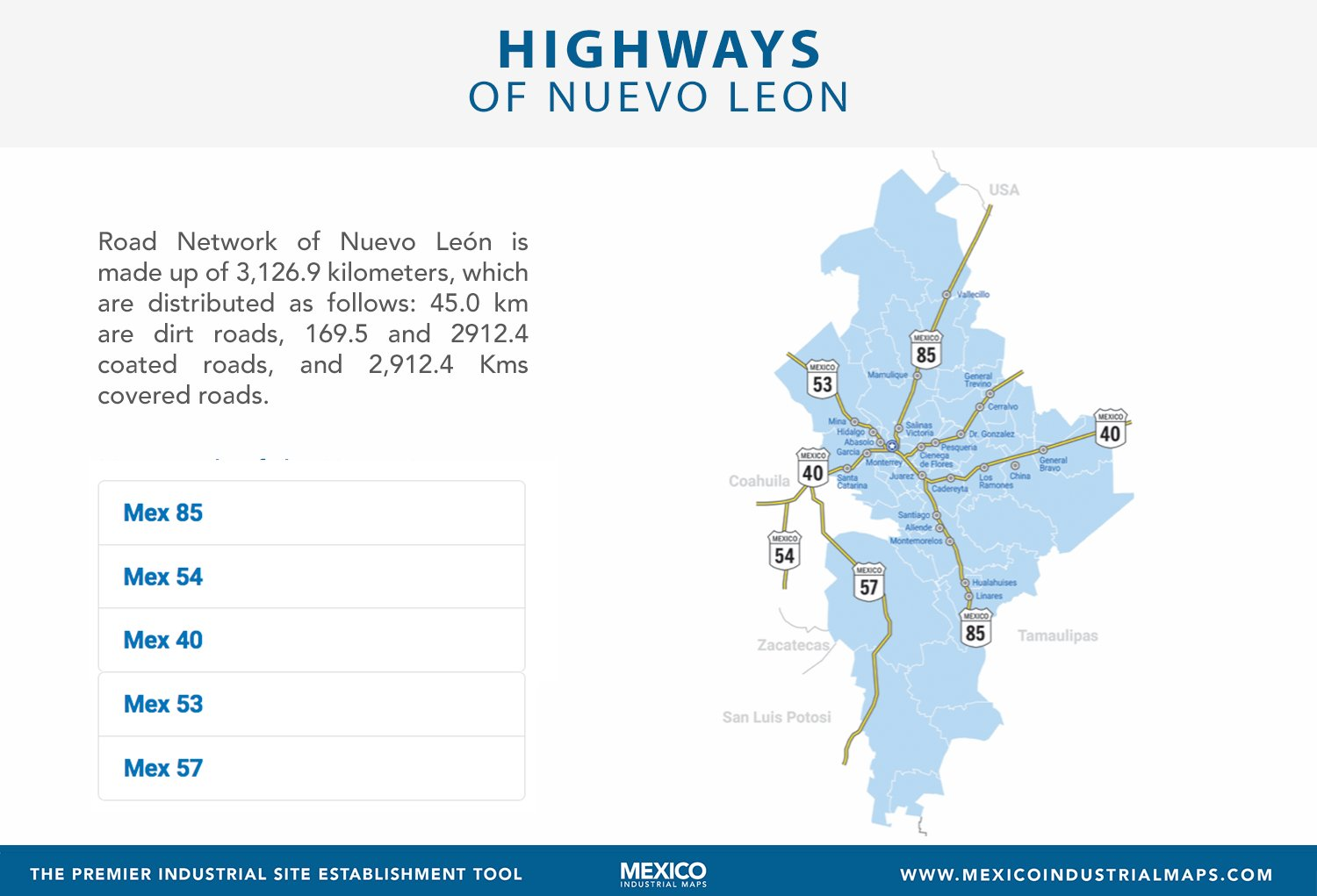 Salinas Mexico Map.Mexico Industrial Maps On Twitter Main Roads Of The State Of Nuevo