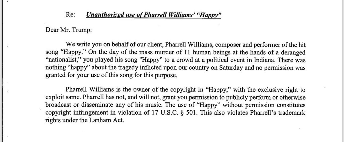"... cease and desist sent by Pharrell Williams to Donald Trump for using ""Happy"" on ""the day of the mass murder of 11 human beings,"" as the letter puts ..."