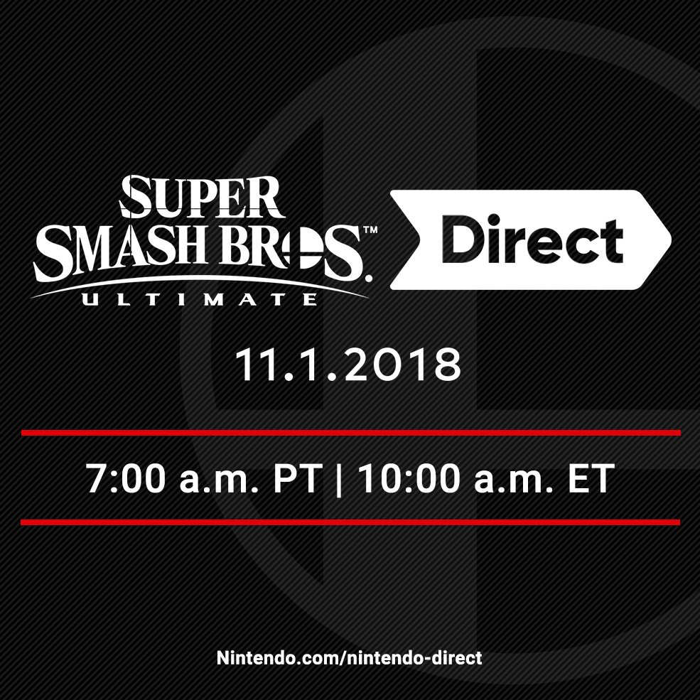 Tune in 11/1 for roughly 40 minutes of new information in the final Super #SmashBrosUltimate #NintendoDirect before the game's release, hosted by Director Masahiro Sakurai! The Direct will be followed by a post-show Nintendo Treehouse: Live presentation. bit.ly/2ETeRu1