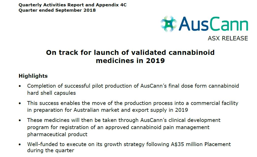 AusCann on track for the launch of validated cannabinoid medicines in 2019. You can view our September Quarterly activities report here: https://t.co/RXdaDroxWM #ASX #AC8