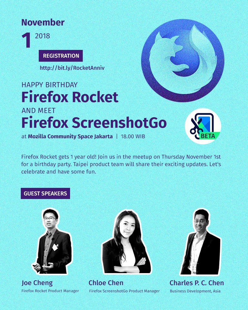 Yuk ikutan #MozKopdarJKT - 1st Anniversary of Firefox Rocket and Meet Firefox ScreenshotGo :)  Kamis, 1 November 2018 18.00 WIB - selesai, ada makan-makan lhoo~ Di #MozSpaceJKT  Tiada kesan tanpa kehadiranmu, RSVP di https://t.co/0aM9e82rLj yaaa :) https://t.co/HLbXjUTeP0