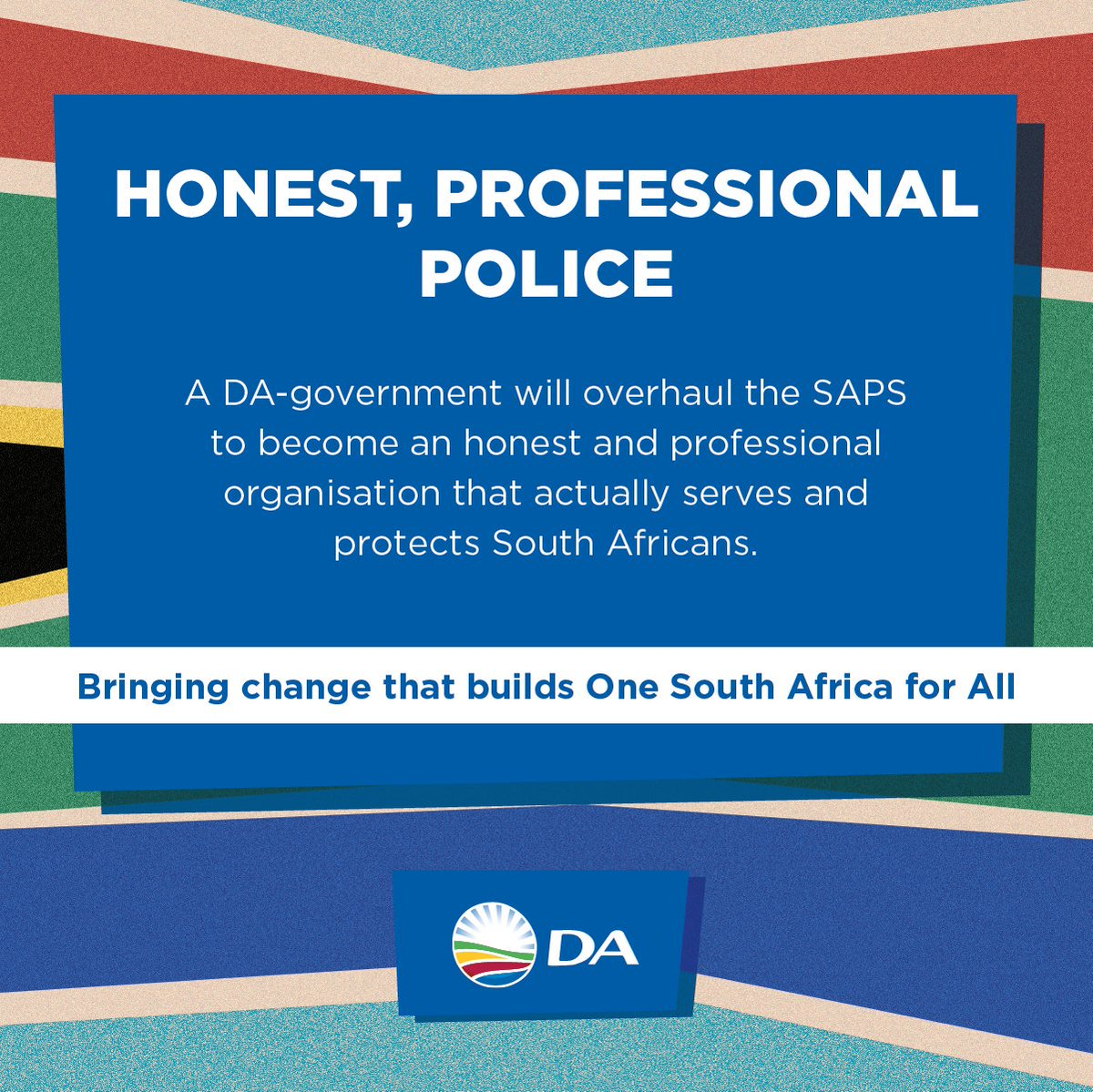 Image result for democratic alliance election poster better policing