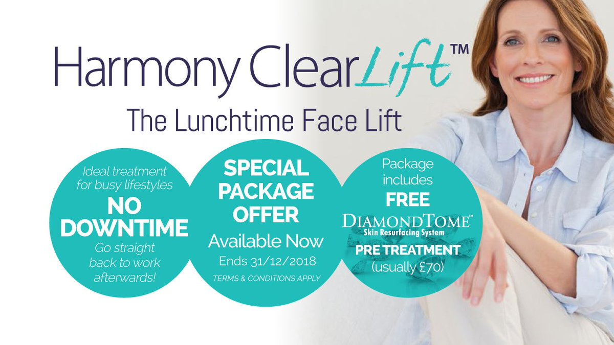 Special autumn/winter package price offer for our Harmony ClearLift™ treatment. The laser treatment, known as the 'lunchtime facelift', is ideal for busy people and a great post summer skin treatment to enhance healthy, collagen plumped skin. https://t.co/g1re13ZUfy https://t.co/n8Z3WS8oQl