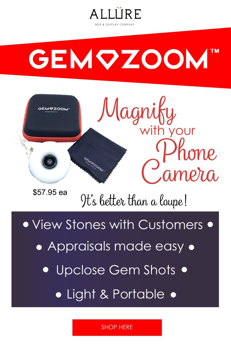 Gem-Zoom™ U Universal Phone Camera 10X Macro Lens Diamond Gemstone Photographs