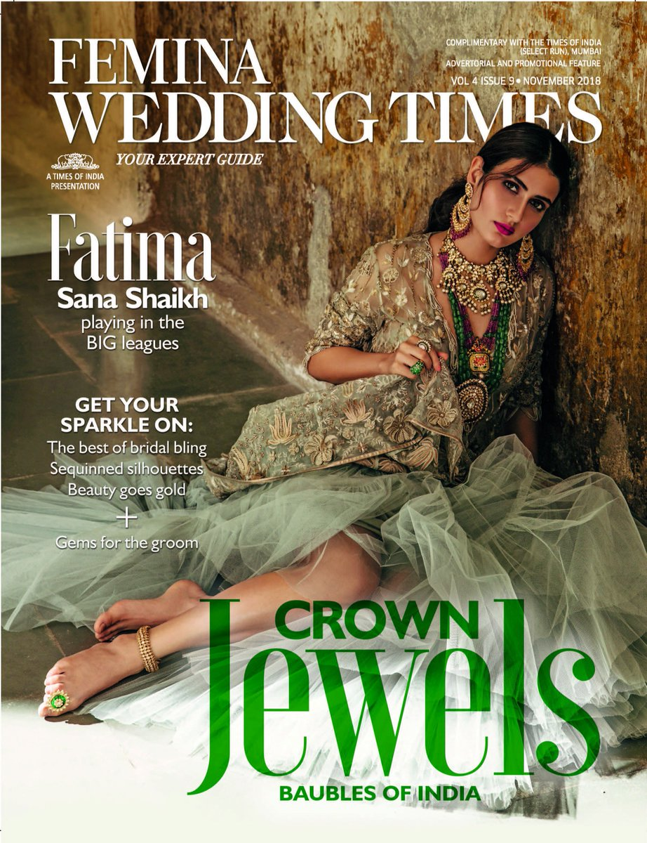 As she stars in one of the biggest and most anticipated films of the year, #FatimaSanaShaikh dazzles as our November cover girl!  Shot by @TarasPhotograph  Hair and Make-up: #MarcePedrozo Styling: @LynnAnnLobo  #fatima #covergirl #feminaweddingtimes #thugsofhindostan #dangal
