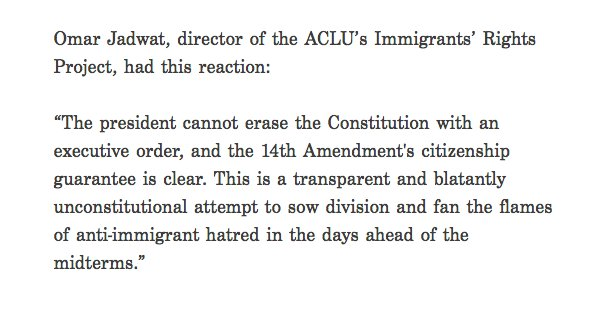 .@ACLU statement on Trump considering ending birthright citizenship in the US