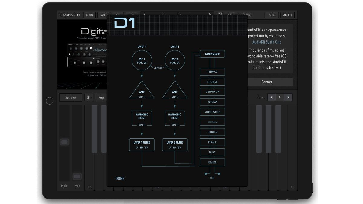 The @AudioKitPro Digital D1 synth for iOS is pure '80s and '90s digital lushness https://buff.ly/2CPSD9i