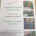 Is your child due to start school in September 2019? Then come and have a look around in our open afternoon on Wednesday 14th November from 2-5pm