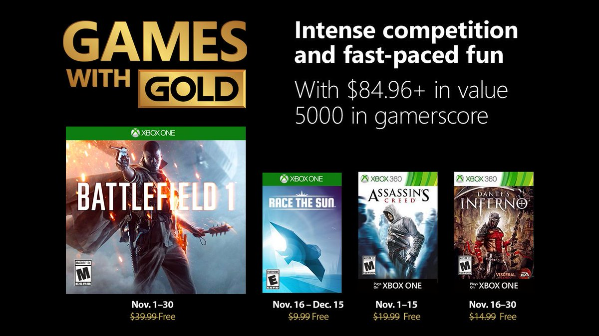 Xbox Live Games with Gold November 2018