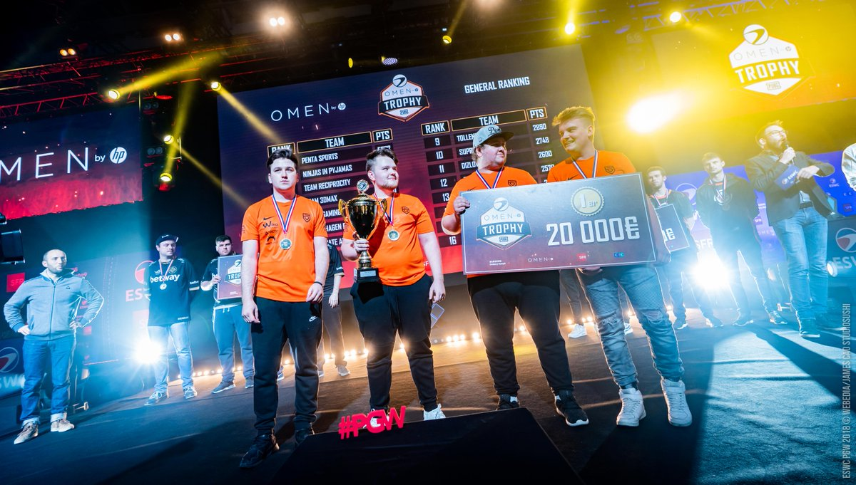 🎖 #ESWCPGW #OMENTrophy #PUBG  - Final Results   🏆🥇 @PENTA_Sports - €20000 🥈 @NiPGaming - €12000 🥉 @TeamReciprocity  - €6000  Congratulations to all the teams for their stamina, their patience, their kindness, and thank you for watching the #eswc @OMENbyHP_fr competition !
