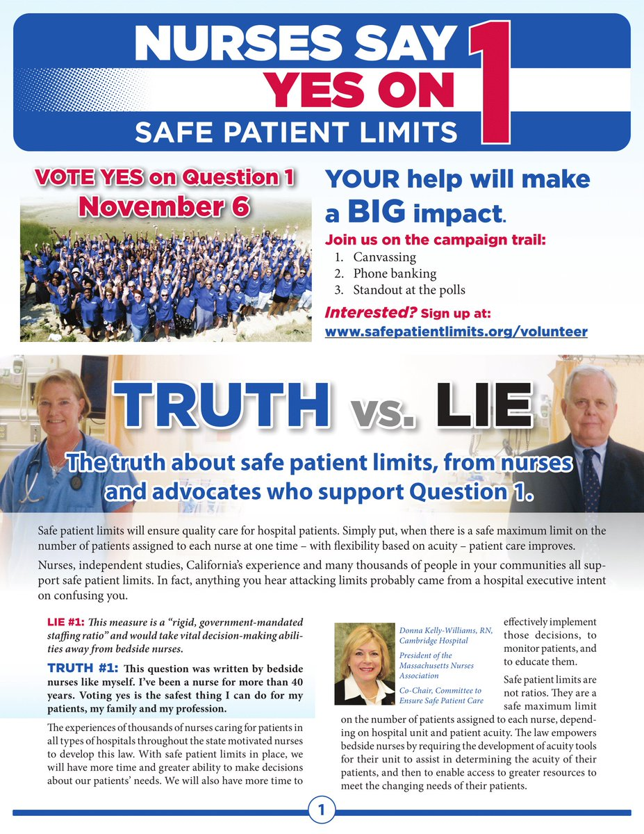 We know there's confusing information out there about #YesOn1 for Safe Staffing. We thought this Fact Sheet from @PatientSafetyMA was really helpful. See images below or the full PDF: http://bit.ly/YesOn1FactSheet