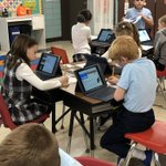 Image for the Tweet beginning: Second graders are busy at