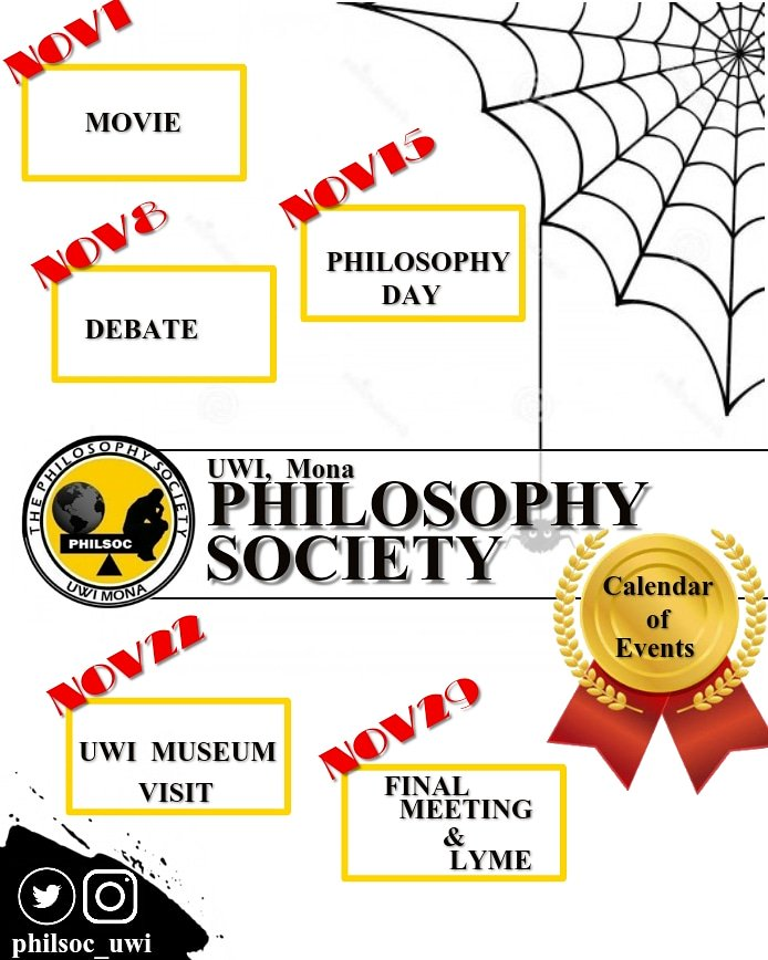 Now, you can keep up-to-date with Philsoc&#39;s list of activities for the month of November  Moot for debate: &quot;Be it resolved, Philosophy is not needed in this 21st century&quot;  LOOKING FOWARD TO YOUR VISIT!  #MonthOfNovember #CalendarOfEvents #PhilsocFosteringTheMindToReason<br>http://pic.twitter.com/WCHdDFeZmg