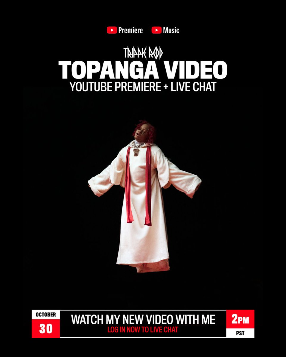 10 MINUTES. TOPANGA VIDEO PREMIERE + LIVE CHAT ON @YouTube: trippieredd.lnk.to/ALLTY3/youtube