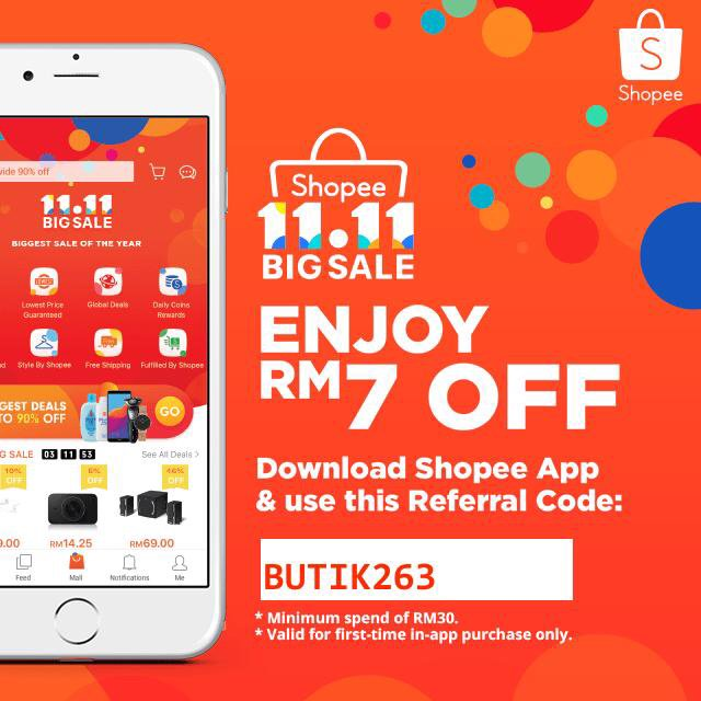 Use my referral code BUTIK263 to get RM7.00 off off your first purchase! Download Shopee now to enjoy free shipping and lowest price guaranteed deals! https://t.co/LhIFujOV8R https://t.co/ZysCh1FVgQ
