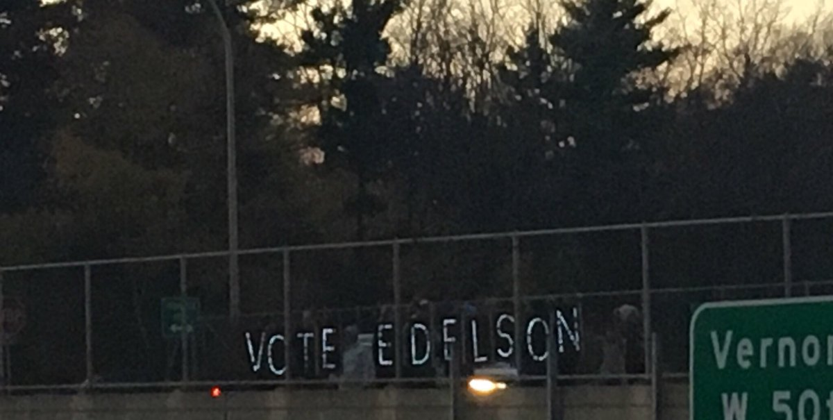 "Thanks to our amazing volunteers for organizing light up ""Vote Edelson"" signs this evening! And a special thanks to local Edina dad extraordinaire, Pete for constructing them! #EdelsonforEdina #voteMN <br>http://pic.twitter.com/rbi5aeYQHO"