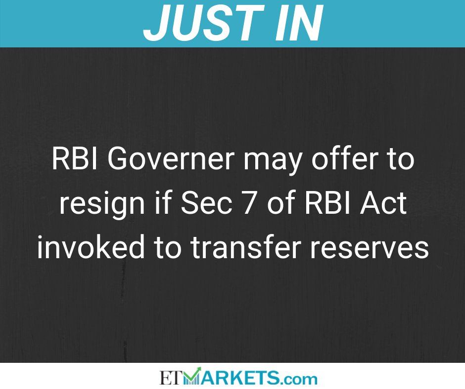 #JustIN | Govt. keen on a bureaucrat as next RBI Governer if Patel were to resign #ETMarkets @ETNOWlive