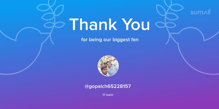Our biggest fans this week: @gopalch65228157. Thank you! via sumall.com/thankyou?utm_s…