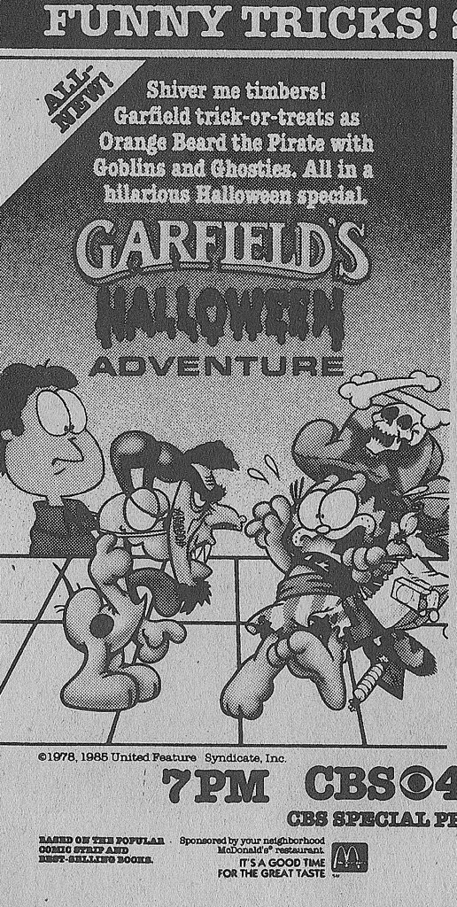 Retronewsnow On Twitter Garfield S Halloween Adventure First Aired 33 Years Ago Tonight October 30 1985 On Cbs