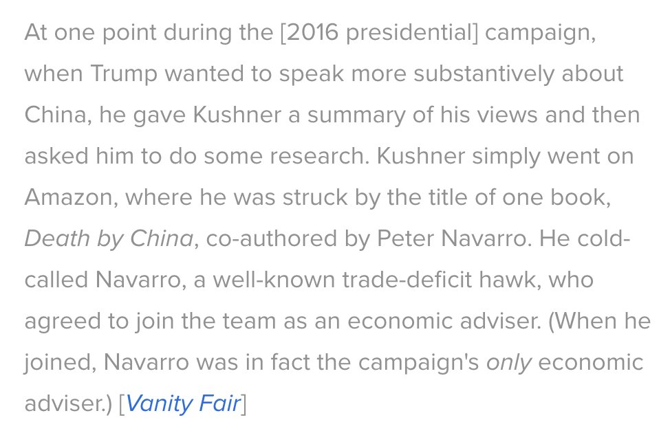 It's important to remember the story of how Peter Navarro became Trump's advisor on trade policies. Jared did a search on Amazon and found the most insane book he could.   They started with an opinion and then hunted for information that would back it up. Are you not entertained?