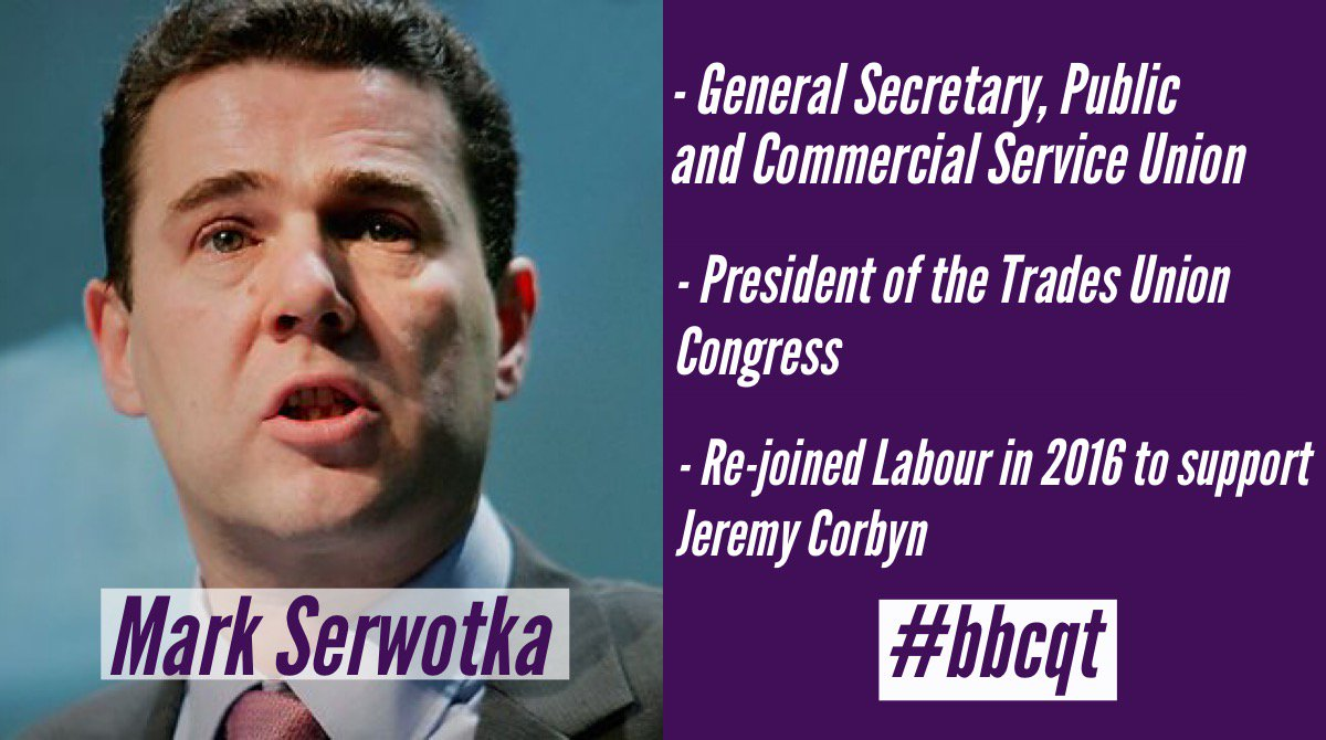 .@pcs_union General Secretary Mark Serwotka will also be joining us on the #bbcqt panel
