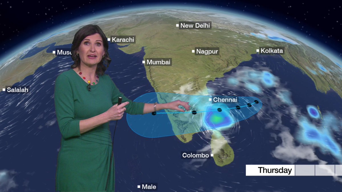 Cyclone Gaja will bring big storm surges when it hits the eastern coast of India shortly. https://t.co/U7sGs7OsvL