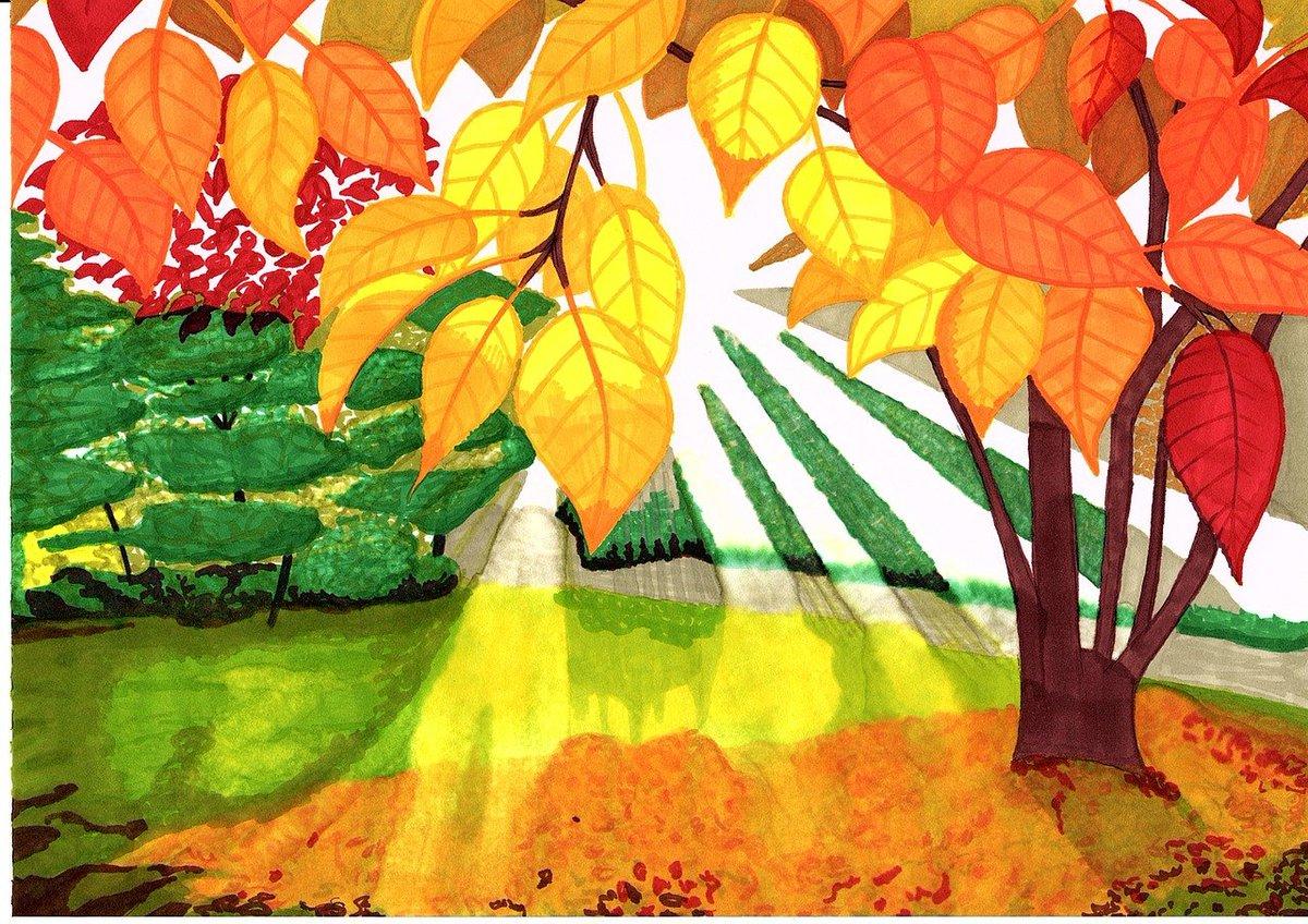 Открытку, картинка про осень для детей нарисованные