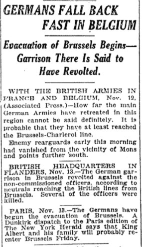 Nov 14, 1918 - New York Times: Germans move quickly to evacuate Belgium #100yearsago
