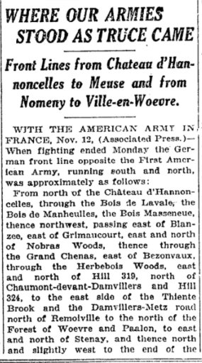 Nov 14, 1918 - New York Times: Where US lines stood on the Western Front when the armistice took effect #100yearsago