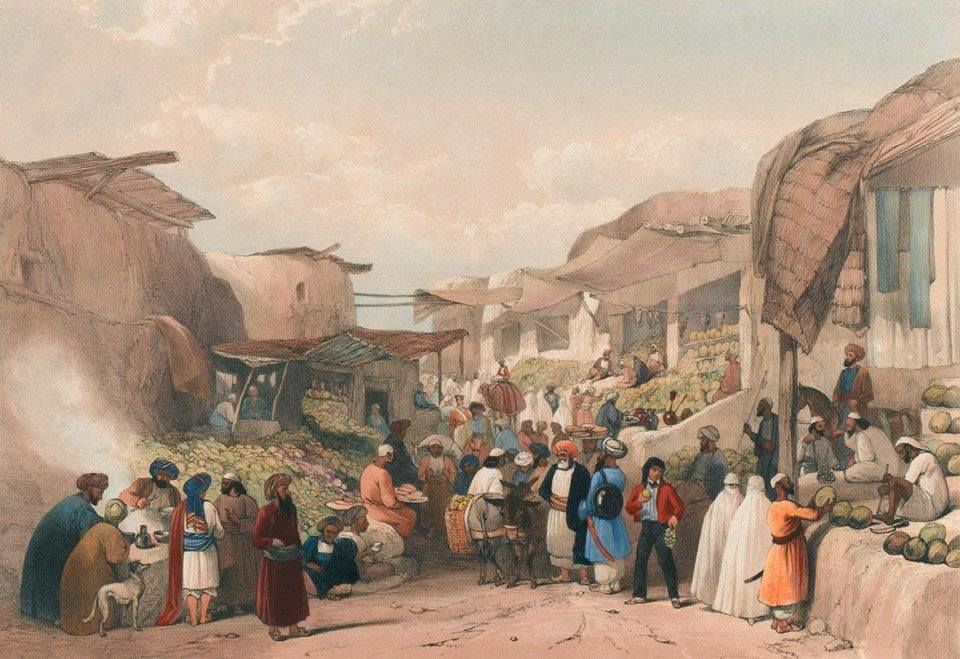 The Main Street in the Bazaar at Kabul in the Fruit Season&#39;, c.1840 . By James Atkinson. <br>http://pic.twitter.com/ml8DyOHbJM