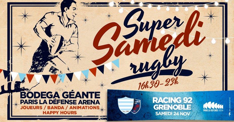 Super Samedi Rugby à la guinguette @ParisLaDefArena !   Au programme ️  Du rugby non stop de 16h30 à 23h ! Une bodega avec les joueurs Une Banda Happy Hours   Retrouvez nous samedi 24 novembre places