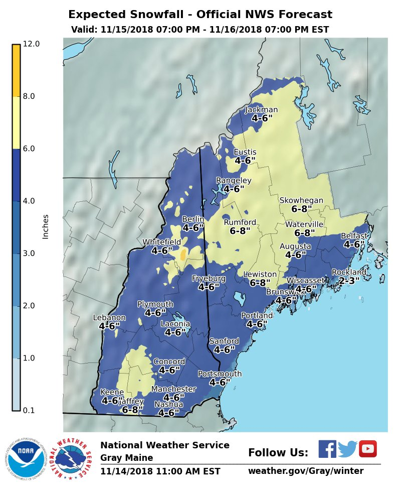 NWS in Gray has issued a predicted snowfall map for Thursday night into Friday.  Please plan your travels accordingly.