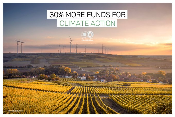 GOOD NEWS!! #EPlenary agreed with us: EU budget needs to be increased and commit to 30% climate-related spending by 2027! This budget is much better suited to tackle #climatechange with taxes on plastics and emissions trading. More details here: Photo