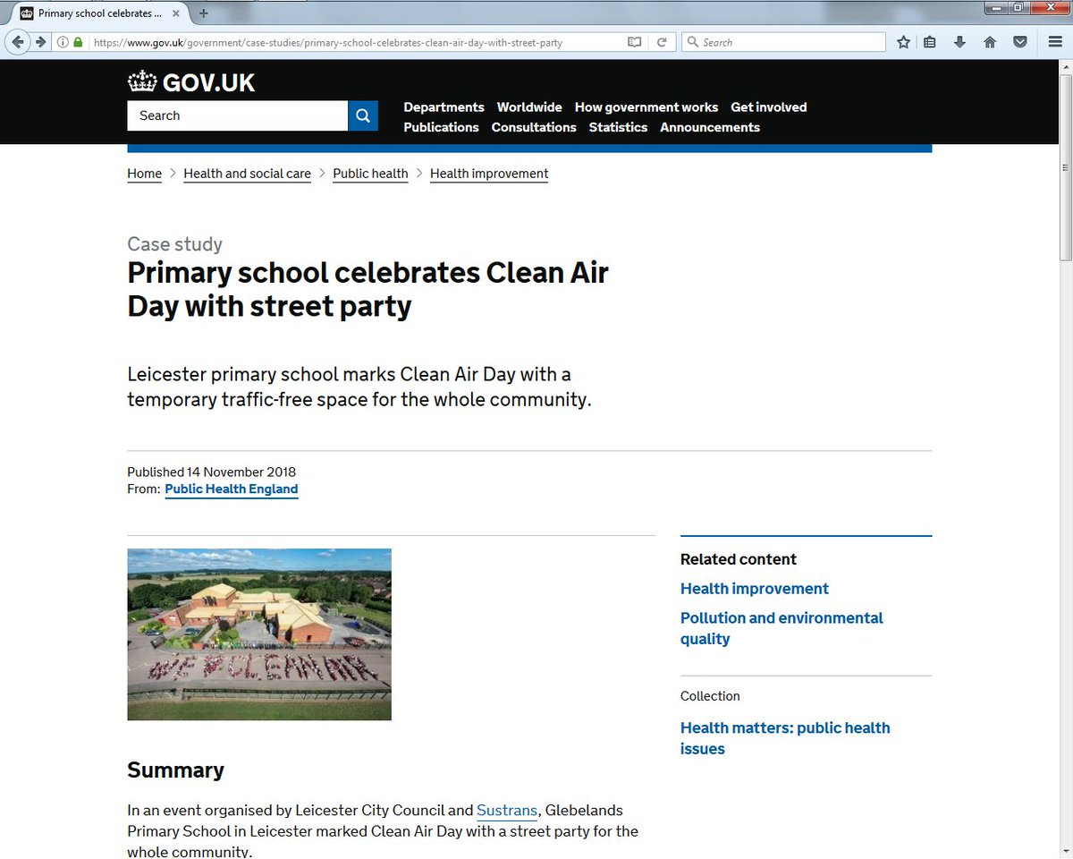 The new @PHE_uk guidance on #AirPollution has just been launched. Read the case study of our #CleanAirDay event organised in partnership with @Leicester_News at @GlebelandsLeic on the @GOVUK website: tinyurl.com/LEcleanAir #LEschools #Sustrans