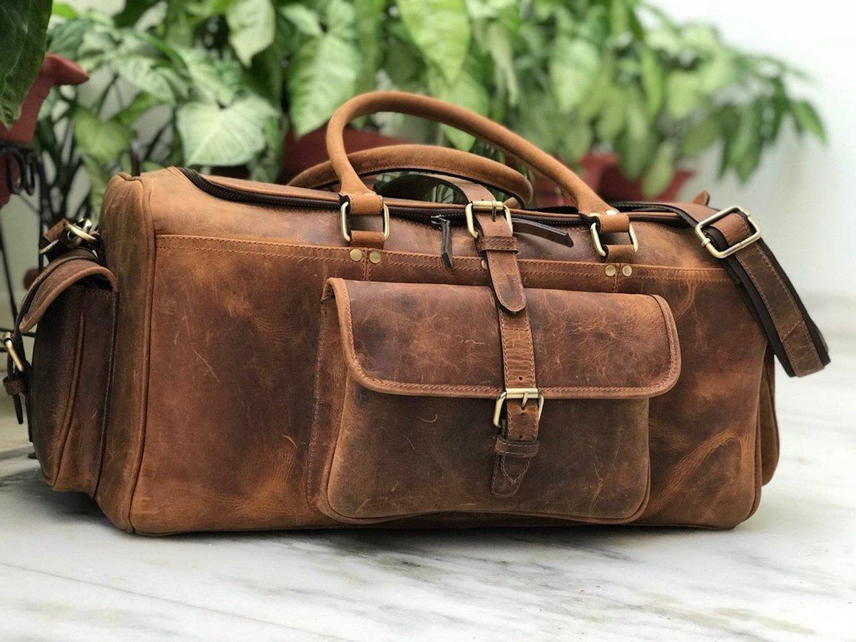e64d222592a3 ... Zakara Genuine Buffalo Hunter Brown Leather Weekender Bag
