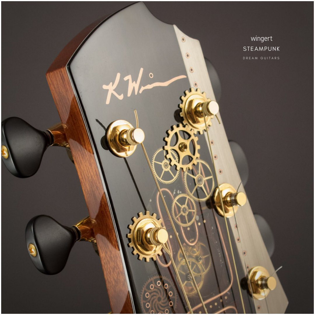 #Steampunk ⚙️ Awesome of the Day: 2013 Wingert Steampunk E Cocobolo/Carpathian Spruce #Guitar 🎸 with Cogs made by Kathy Wingert via @dreamguitarsnc #SamaGuitars