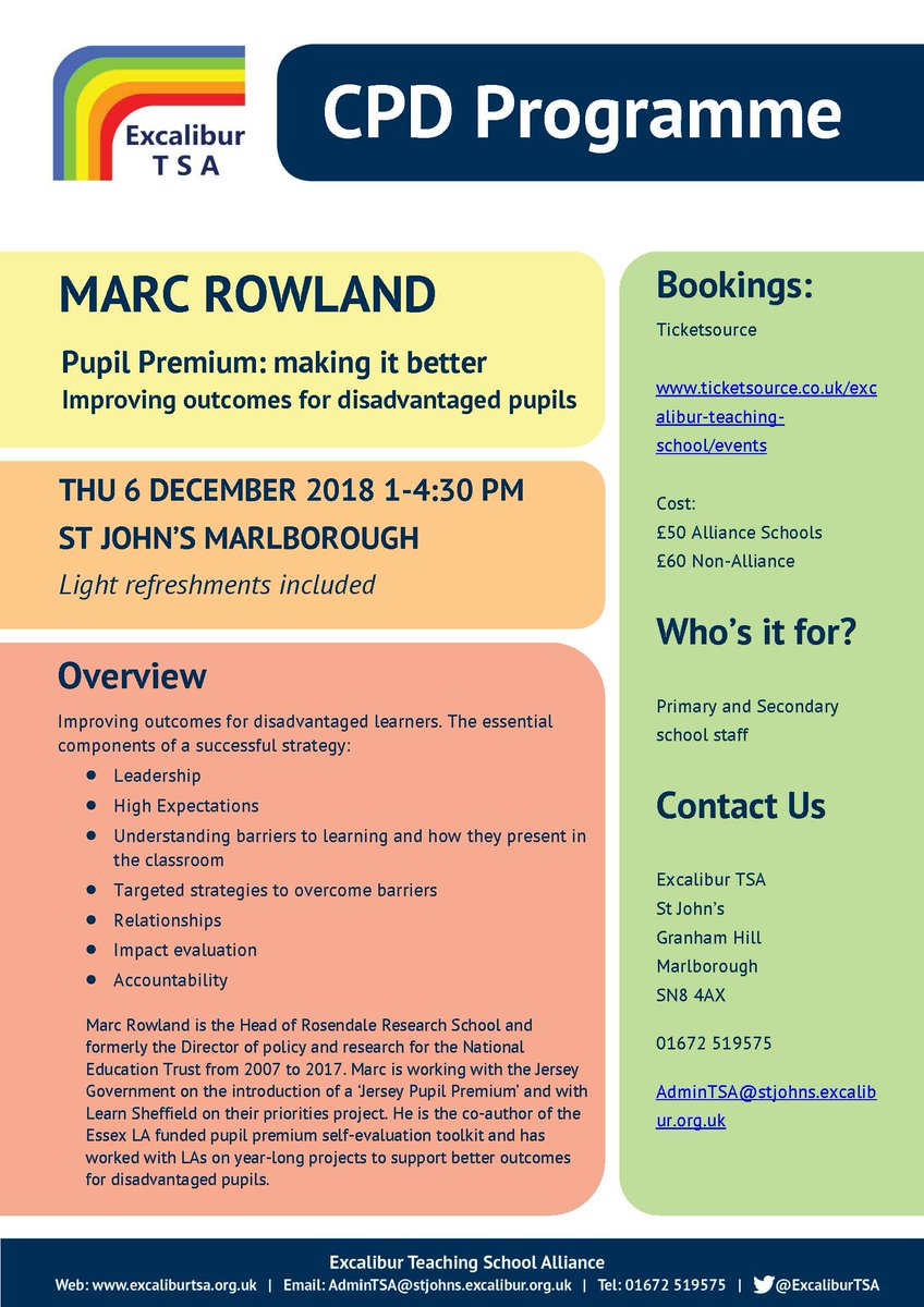 "Marc Rowland from Rosendale Research School is running an inspirational CPD ""Pupil Premium- making it better"" on 6 December 1-4:30pm @StJohnsMarlb Find out more and book here: https://t.co/v8ZgGOeW1f @marcrowland73"