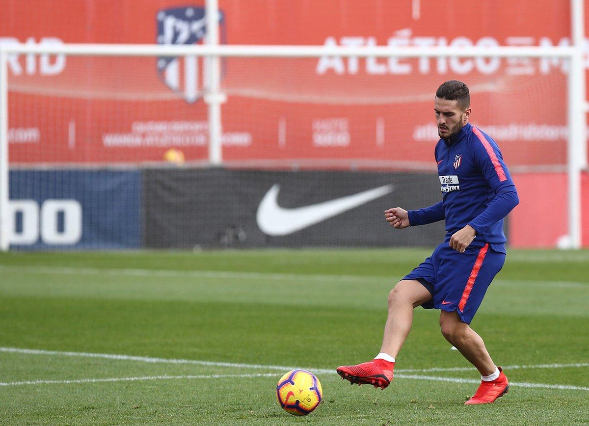 Koke, en la sesión de este miércoles con el Atlético (Foto: ATM).
