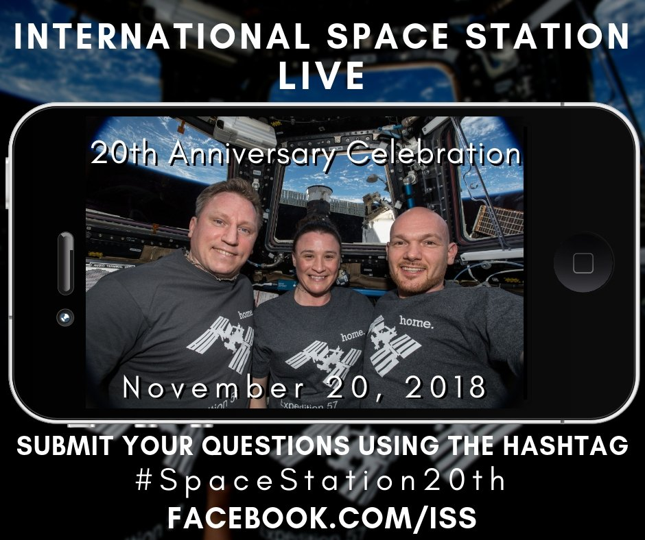 On Nov. 20 at 9:50 am CT, we're celebrating our 20th anniversary! Tune in as we ask YOUR questions to the crew in space! Reply with your question or film yourself asking it (landscape-style & in English), then upload to YouTube with  in #SpaceStation20ththe title by Nov. 16.
