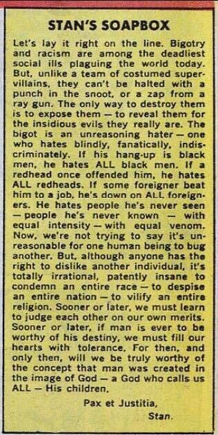 More relevant than ever: Stan Lee column from 1968. #RIP