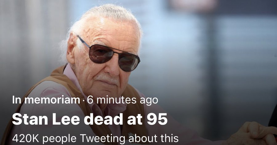 Stan Lee has passed away.