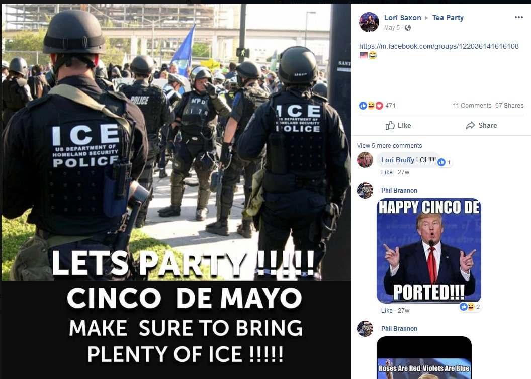 More posts from the Tea Party group. There are a lot of posts about ICE, which they really like.