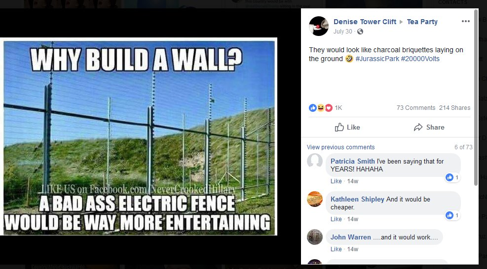 Immigration is a frequent topic of the fb group. This post suggests electrocuting people would be funny.