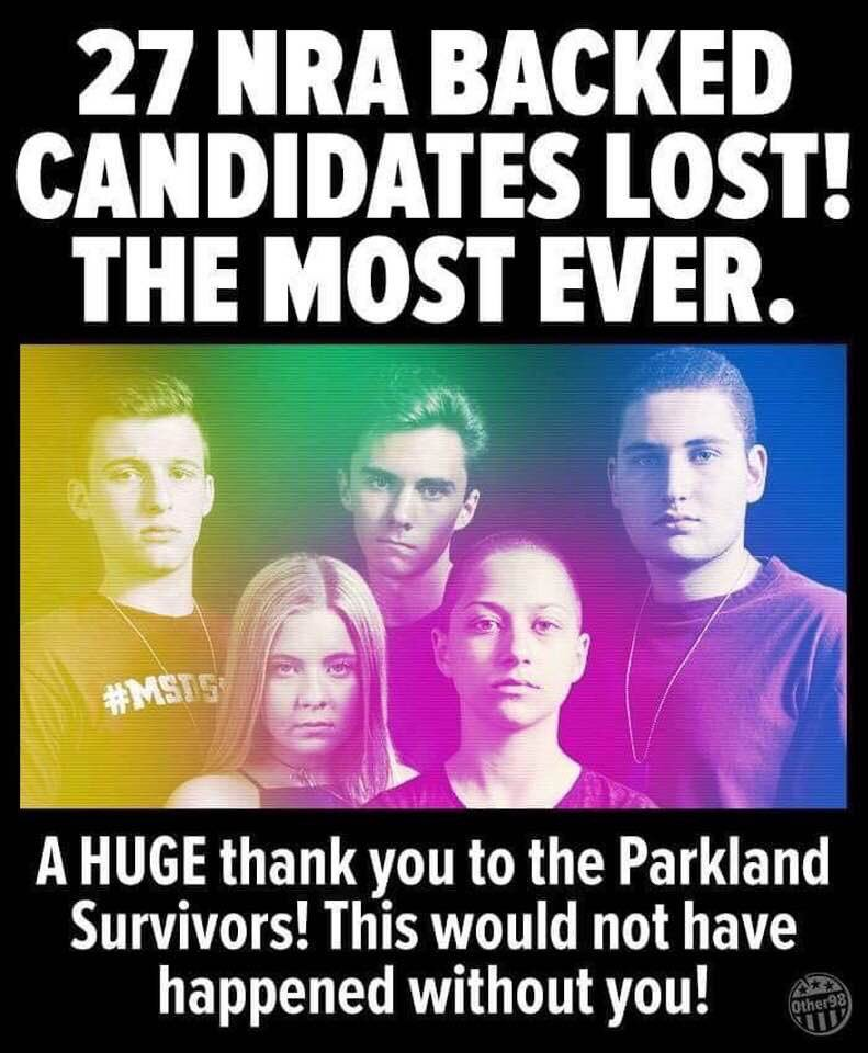 Thank you @davidhogg111 and #MarchForOurLives  #Parkland survivors! #TakeItBack (the Senate and Presidency) in 2020 - and we WILL have sane #gunlegislation and the NRA will loosen its grip on We The People. #BlueWave #CA45<br>http://pic.twitter.com/C38U2ksYoN