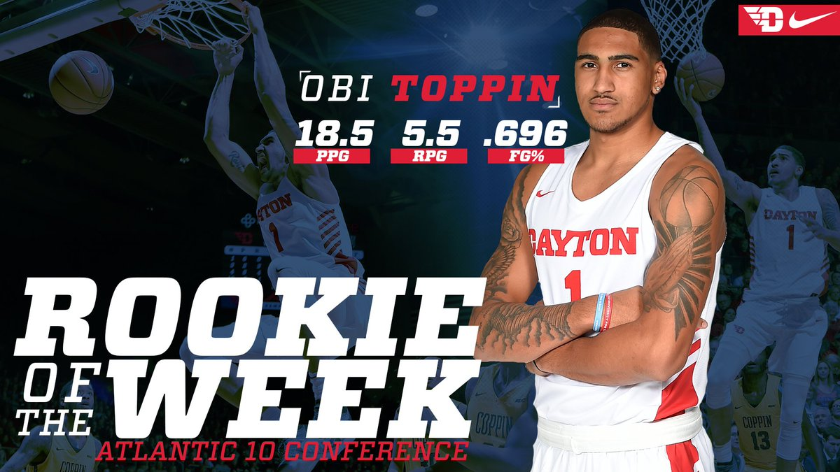 He&#39;s only one week into his collegiate career and Obi Toppin already has an accolade to his name! Toppin was named A-10 Rookie of the Week after averaging 18.5 points per game and 5.5 rebounds for Dayton in two wins last week!  Story :  https:// bit.ly/2DA7dmF  &nbsp;    #JoinTheFight <br>http://pic.twitter.com/Kdyy3bJMIu