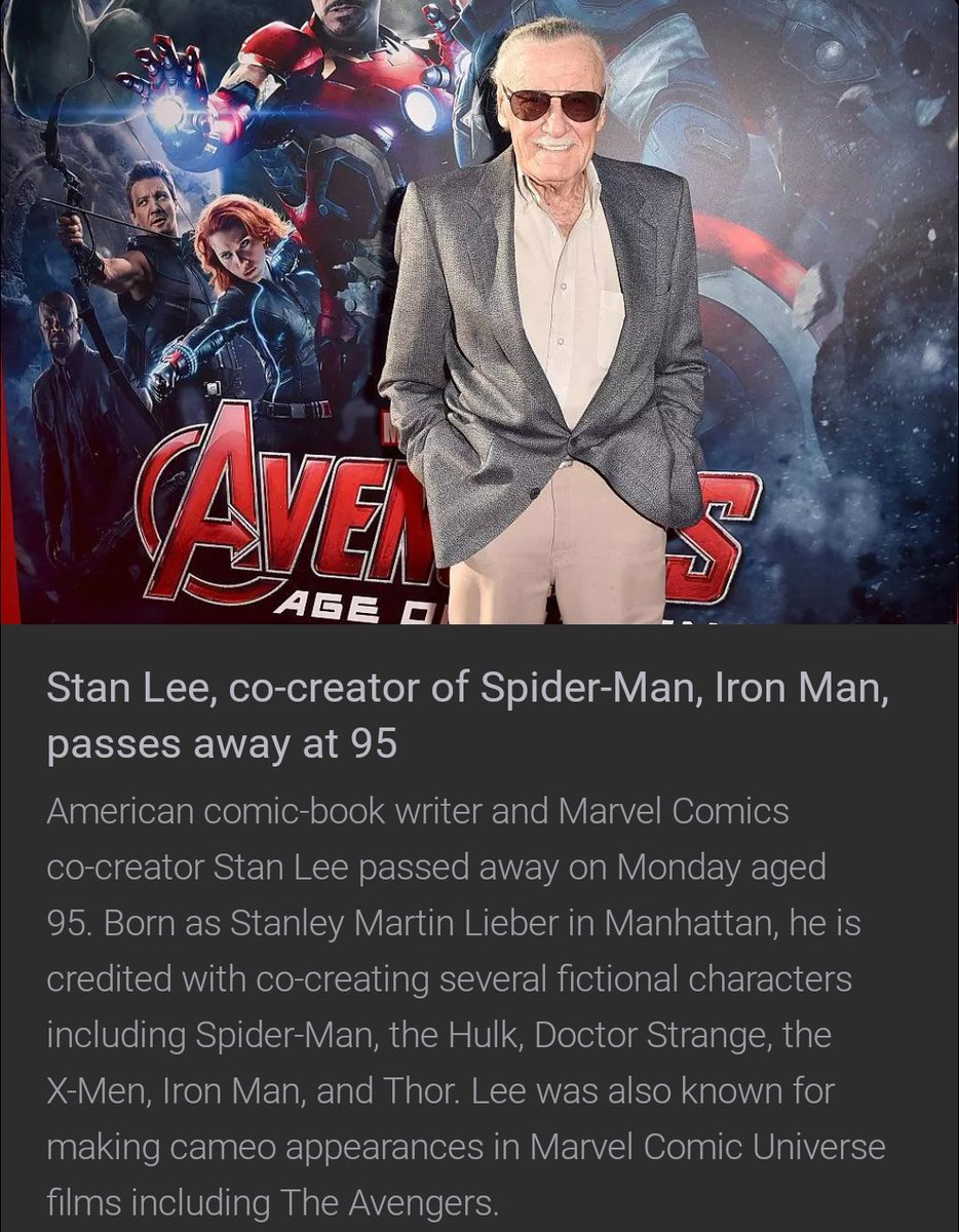 There can be no one else like you! Thanks for making every movie so special and for all those goosebumps that ur thoughts gave! Being a @Marvel @MarvelStudios Fan, it will be a different world without u! Love u sir, respect u @TheRealStanLee sir! #StanLee #MARVEL #marvelfan