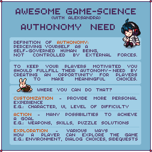Take care of your players autonomy need to increase the replayability of a game.   #gamedesign #gamedev #indiedev  Thanks to @cyangmou for help !<br>http://pic.twitter.com/gGzvcxKhVP