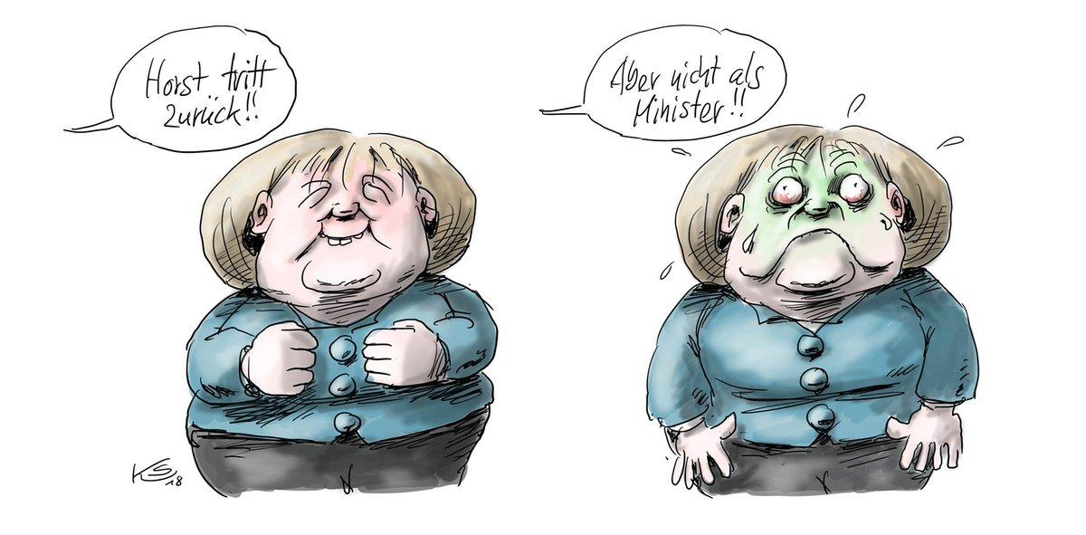 Zu früh gefreut... #Merkel #Seehofer #SeehoferRuecktritt Mehr von Klaus Stuttmann unter https://t.co/AwaVYn2lag